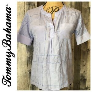 Tommy Bahama Lt. Blue Linen Silk Camp Shirt XXXS